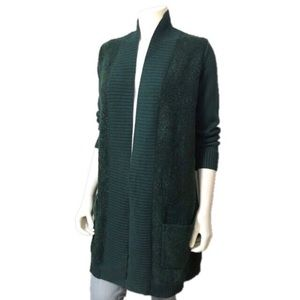 Isaac Mizrahi | Green Long Open Front Cardigan